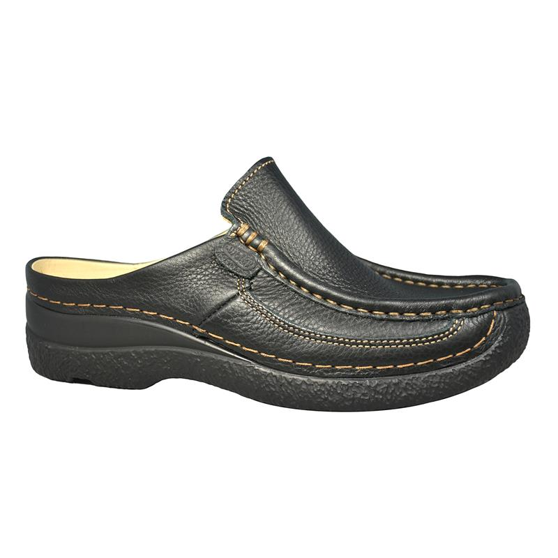 Black Wolky Roll Clog slide 0620270 Black Leather Pr Printed Leather 000 rvarqwR