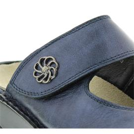 Berkemann Heliane, blau Perlato / Stretch, Clog, Wechselfußbett, Weite G 3457-371