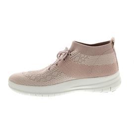 FitFlop Uberknit Slip-On High Top Sneaker Neon Blush / White
