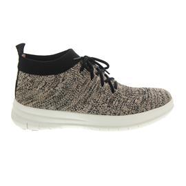 FitFlop Uberknit Slip-On High Top Sneaker Black / Nude Metallic