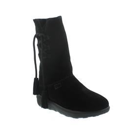 FitFlop Mukluk High Boot With Tassels, Warmfutter, Veloursleder, schwarz 189-001