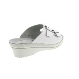 Rohde Neustadt, Damen-Pantolette, Glattleder, weiß, Weite G, 50mm Keilabsatz 1463-00