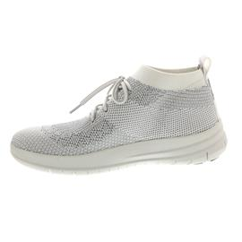 FitFlop Uberknit Slip-On High Top Sneaker, Metallic Silver / Urban White J30-567
