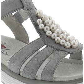 Gabor Rollingsoft Sandale, Samtchevreau, lt. grey (Perlen), Klettverschluss 86.912.40