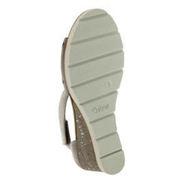 Gabor Sandalette, Samtchevreau, visone (beige) 45mm Keil, Weite F 85.755.13