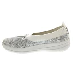 FitFlop Uberknit Ballerina With Bow, Metallic Silver / Urban White K77-567