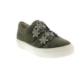 Gabor Sneaker, Samtchev./Crash/Metal, oliv, Best Fitting, Wechselfussbett, Weite F 83.340.15