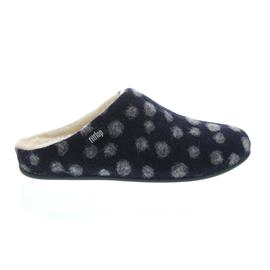 FitFlop Chrissie Dots, Midnight Navy, Wool, Slipper, Schurwollfutter N22-399