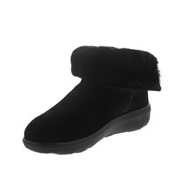 FitFlop Mukluk Shorty 2 Boots, All Black, Velourleder, Warmfutter B96-090