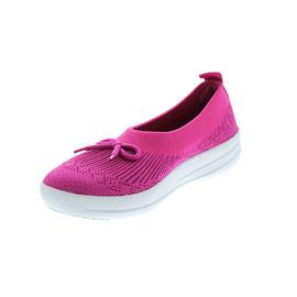 FitFlop Uberknit Slip-On Ballerina with Bow, Psychedelic Pink Mix E90-676