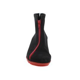 Arche Barwol, Nubuck, Noir / rouge (Nubukleder schwarz), Reißverschluss in rot, Bootie