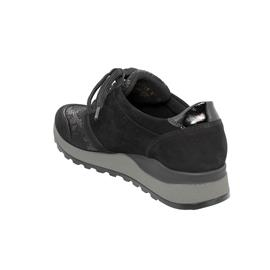 Waldläufer Hiroko-Soft, Sneaker, Nubuk/Lack/Stretch, schwarz , Weite H H64007-307-001