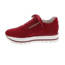 Gabor Sneaker, Samtchevreau (Nubuk), rubin, Wechselfußbett Schnürung, 43.410.15