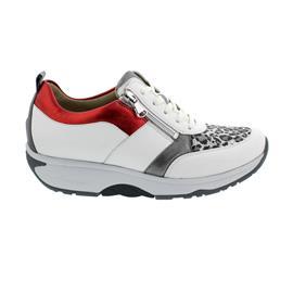Waldläufer H-Sonja, Dynamic-Sohle, Glattleder / Stretch, weiss basalt rot, Weite H 999H03-400-247