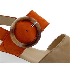 Gabor Sandale, Samtchevreau, caramel / orange, Polsterbrandsohle,  Best Fitting 44.645.12