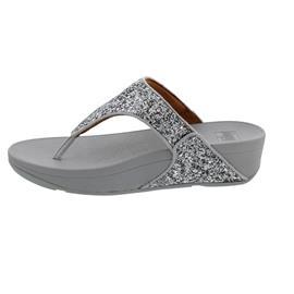 FitFlop Lulu Glitter Toe-Thongs, Silver (hellgrau) X03-011