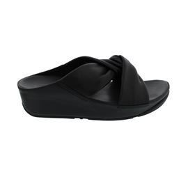 FitFlop Twiss Slide Black (Glattleder), Pantolette V15-001