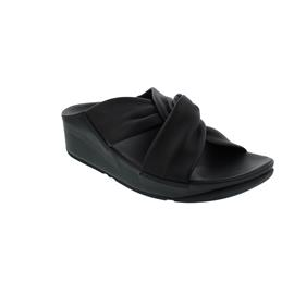 FitFlop Twiss Slide Black (Glattleder), Pantolette V15-001