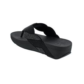 FitFlop Paisley Rope Toe-Thongs, All Black BJ8-090