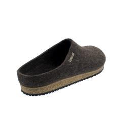 Stegmann Wollfilz-Pantoffel, Wolle vom Yak, rutschfeste Gummi-Laufsohle, dunkelbraun 8859