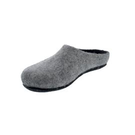 Magicfelt Damen-Wollfilz-Pantoffel, Light Grey extradicke Filzsohle,  AN 709 - 4814