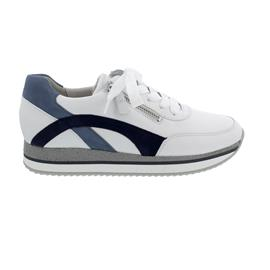 Gabor Sneaker, Las Vegas/ Samtchevreau, weiss/ nautic, Schnür. u. Reißver., Wechselfußb. 63.440.26