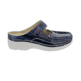 Wolky Roll-Slipper Clog, Croco flash, Blue summer 0622769-870