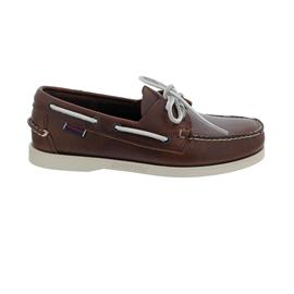 Sebago Docksides, Waxed Leather, Brown - White, Men 70000G0-A02