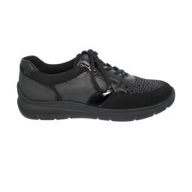 Waldläufer H-Leonie, Sneaker, Nubuk / Stretch / Lack, schwarz, Weite H 796H02-408-001