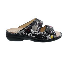 Finn Comfort Sansibar Pantolette, Doodle, Blackmulti, Classic-Damen, Wechselfußbett, 2550-721462