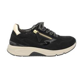Rollingsoft Sneaker low, Samtch/Lack/SpeccHT, schwarz/sun (gold), Wechselfußbett 76.898.67