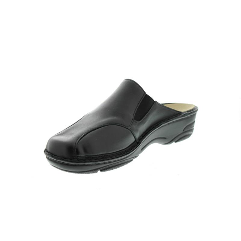 Berkemann Marion, schwarz Leder / Stretch, Clog, Wechselfußbett, Weite G 3420-906