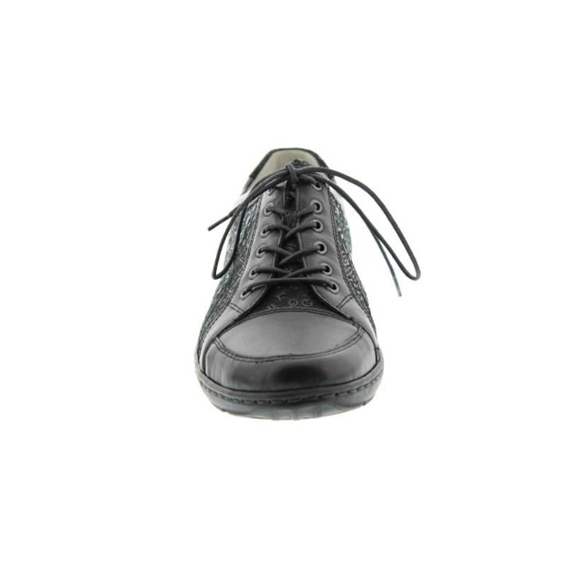 Waldläufer Henni, Schnürschuh, Memphis Rune/ 2x Memphis schwarz, Weite H, 496005-400-001