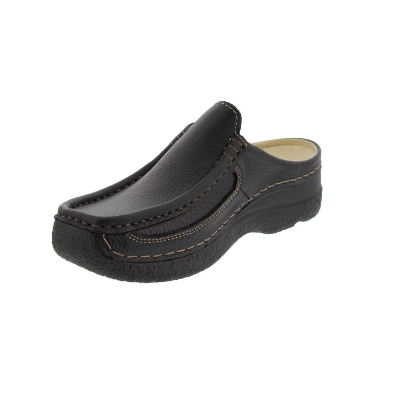 Wolky Roll-Slide, Printed leather, black, Clog 0620270-000