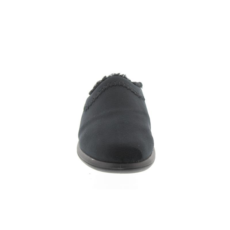 Rohde Farun, Damen-Pantolette, Microvelour, schwarz, Lammfellfutter, Weite F1/2 2510-90