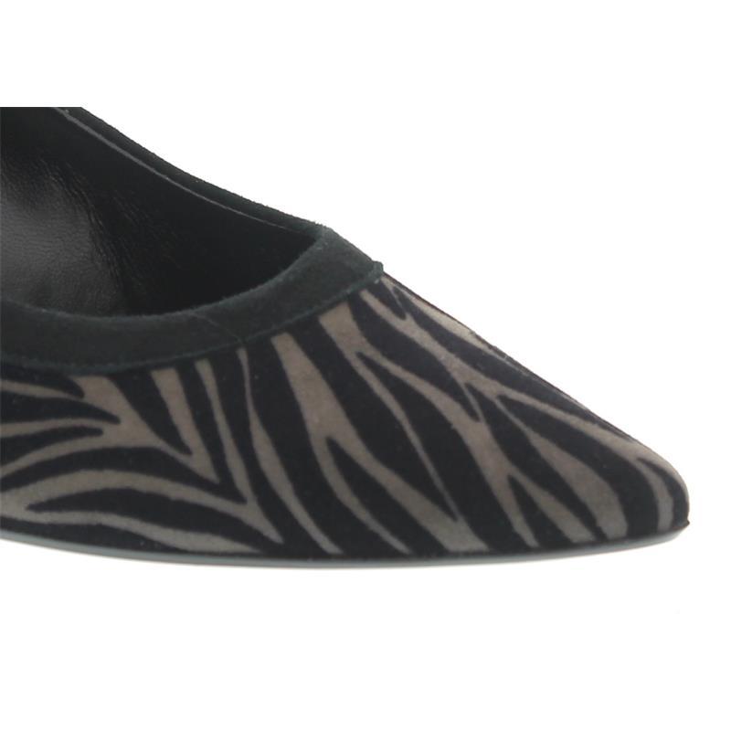 Gabor Pumps, Zebra Flock / Samtch., anthrazit / schwarz 31.252-79