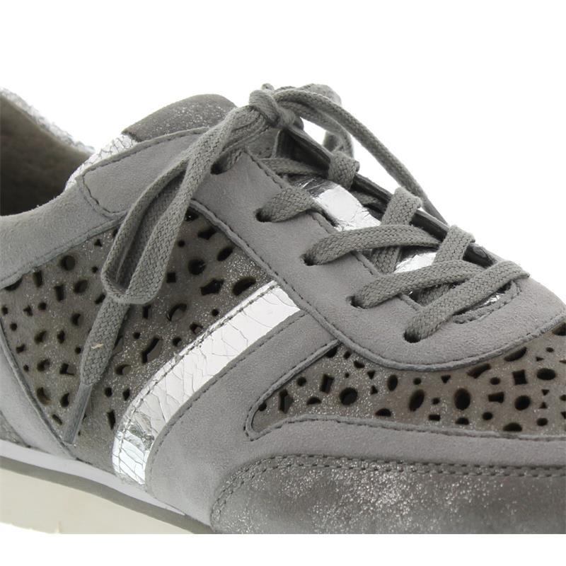 Gabor Sneaker, Caruso/Samt/Crack, grau/stone/argento 64.324.69 Best Fitting