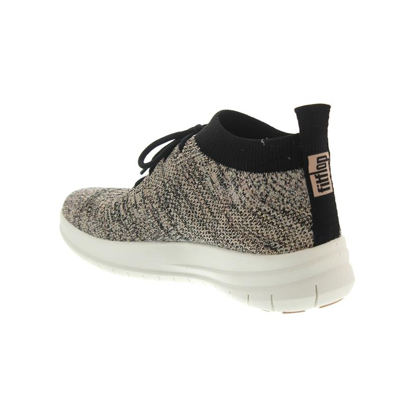 FitFlop Uberknit Slip-On High Top Sneaker Black / Nude Metallic