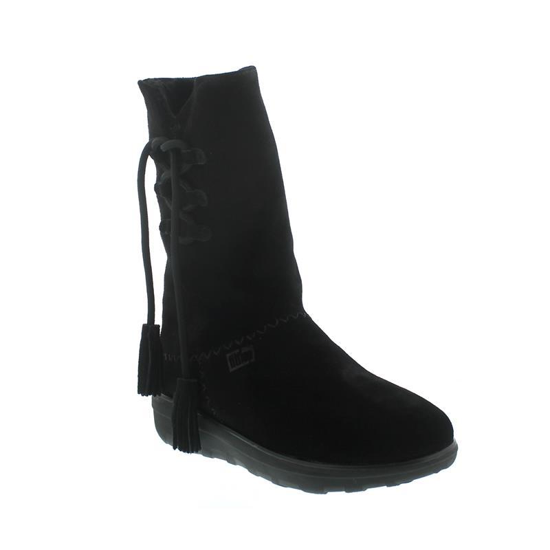 Fitflop Mukluk High Boot With Tassels, Warmfutter, Veloursleder, schwarz 189-001, Größe 41