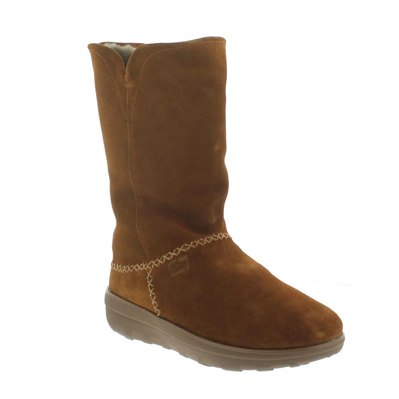 FitFlop Supercush Mukluk Boots, Warmfutter, Veloursleder, chestnut C73-047