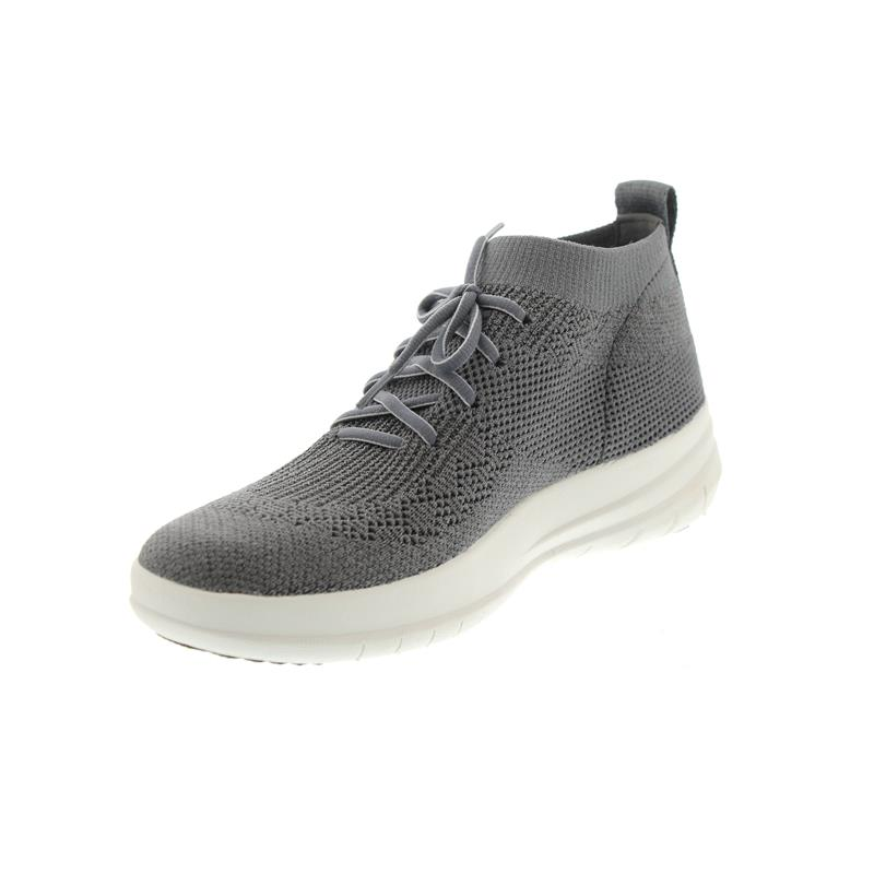 FitFlop Damen Uberknit Slip-on High Top Sneaker Hohe Hausschuhe, Grau (Charcoal/Metallic Pewter 551), 37 EU
