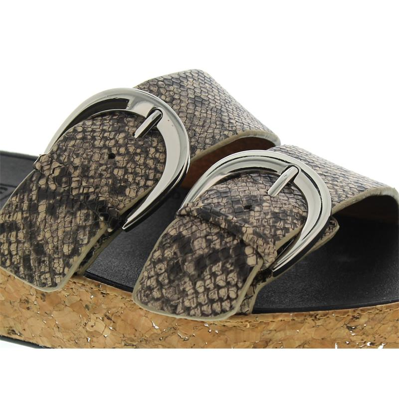 FitFlop Duo-Buckle Slide Sandals-Snake Print Leather, Taupe Snake K35-585, Größe 39