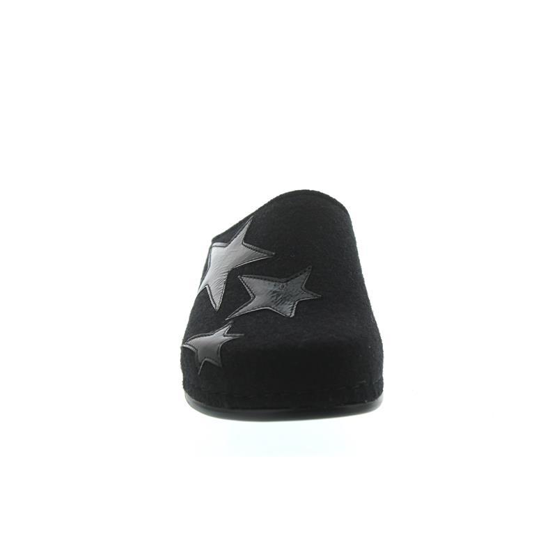 Berkemann Catalina, schwarz, Filz / Lack, Wechselfußbett, Hausschuh, Weite H 1039-940