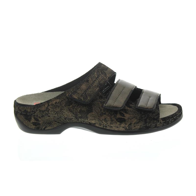 Berkemann Andrea, Pantolette, braun Nubuk/schwarz, Stretch, Wechselfußbett, Weite E-H 1013-608