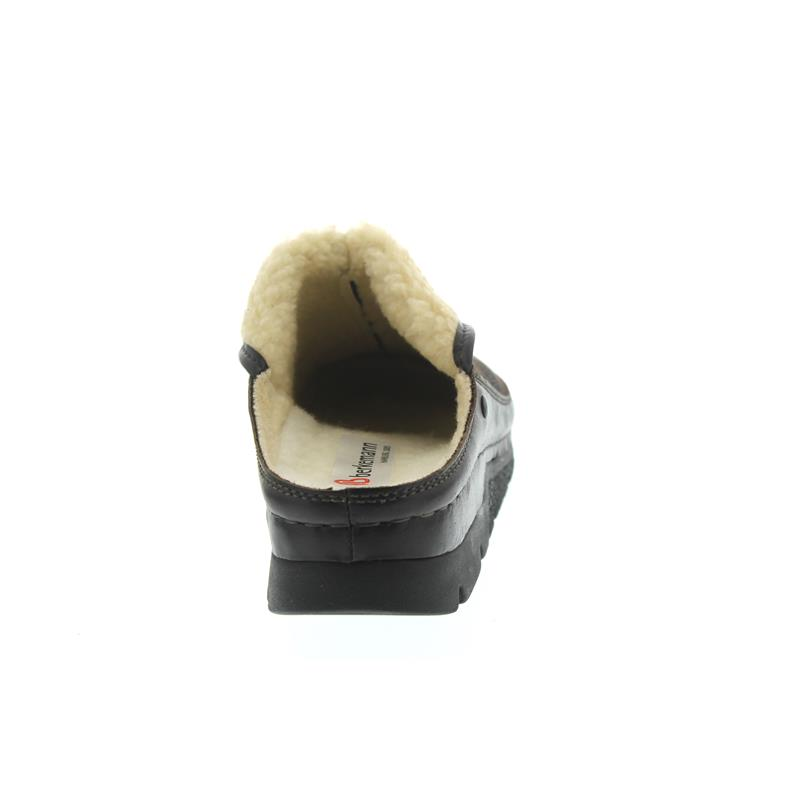 Berkemann Remonda Hausschuh, dunkelbraun, Doubleface, Fußbett aus Schurwolle, Weite G 1152-491