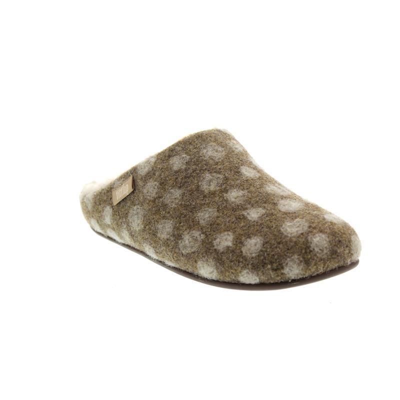 FitFlop Chrissie Dots, Taupe, Wool, Slipper, Schurwollfutter N22-076