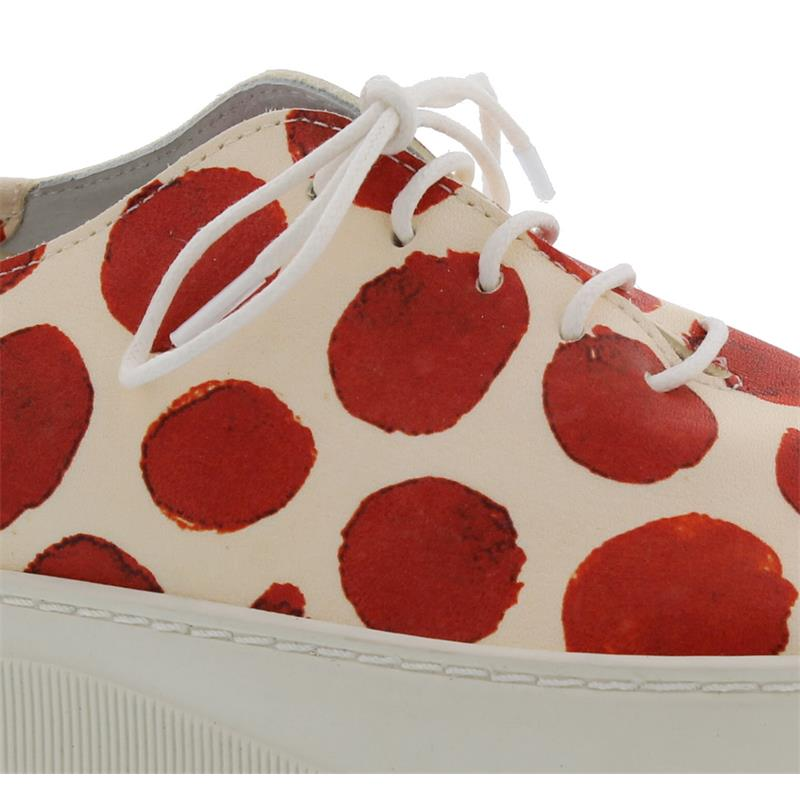 Arche Breeza Sneaker, Dot (Glattleder), Cerise/blanc, Latexsohle