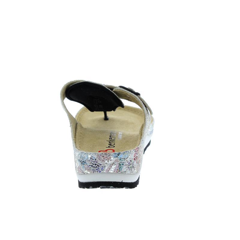 Berkemann Mila, silber/Multi-Flower, Leder, Zehenstegpantolette, Weite G 1351-166