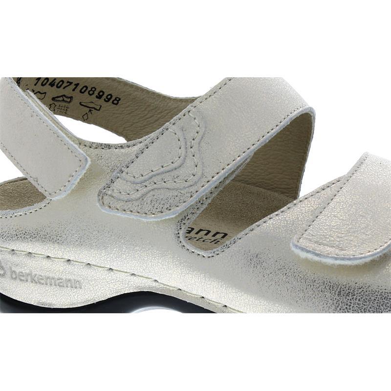 Berkemann Rina, Sandale, gold Glitter/Leder hellbeige Stretch, Wechselfußbett, Weite E-H 1040-710