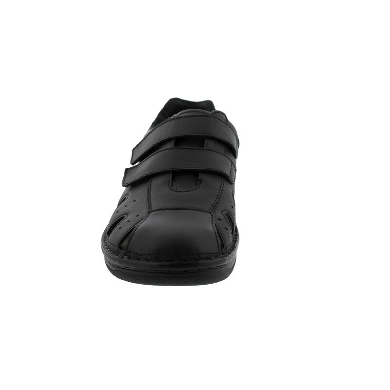 Berkemann Joost, schwarz, Glattleder, Klettverschluss, Weite H 5722-901